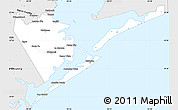 Silver Style Simple Map of Galveston County