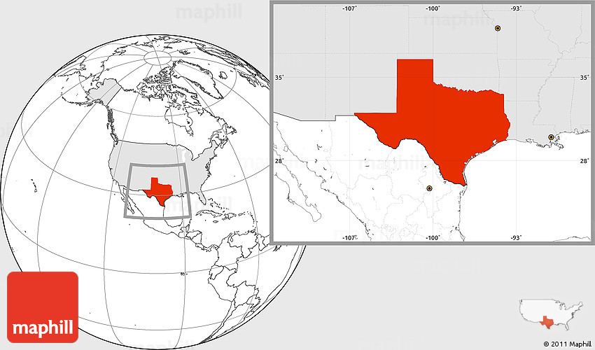 Blank Location Map of Texas, highlighted country
