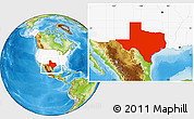 Physical Location Map of Texas, highlighted country