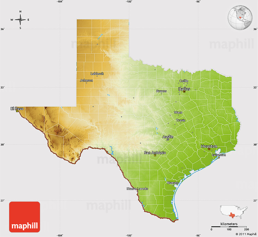 Physical Map of Texas, cropped outside