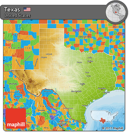 Free Physical Map Of Texas Political Outside