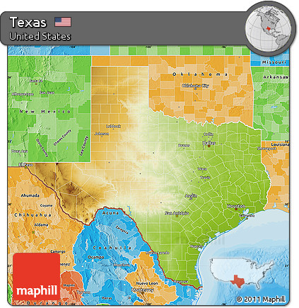 Free Physical Map Of Texas Political Shades Outside