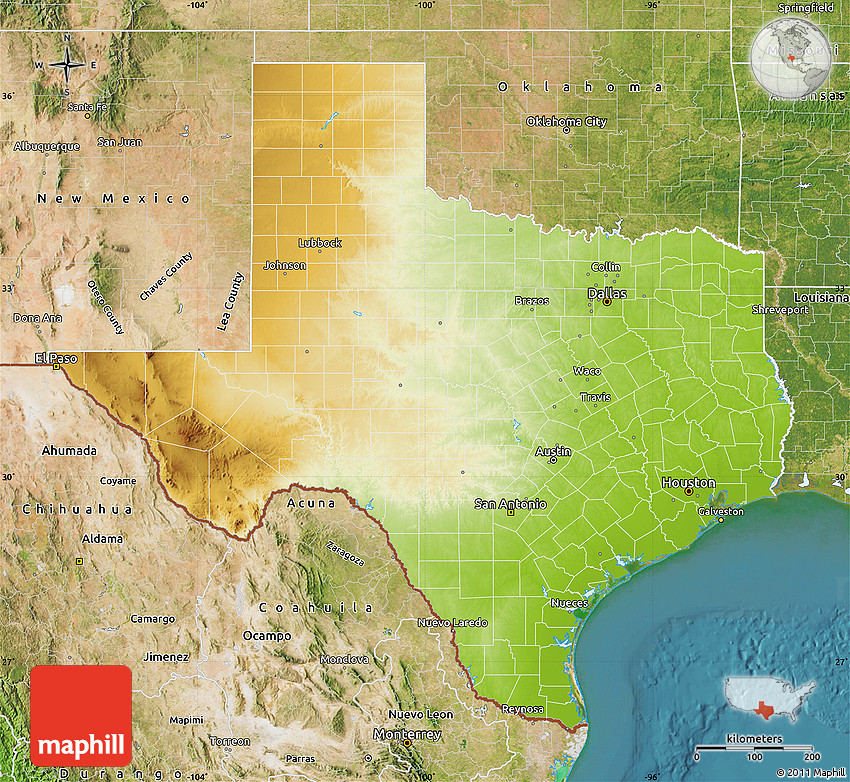 Physical Map Of Texas.Physical Map Of Texas Satellite Outside