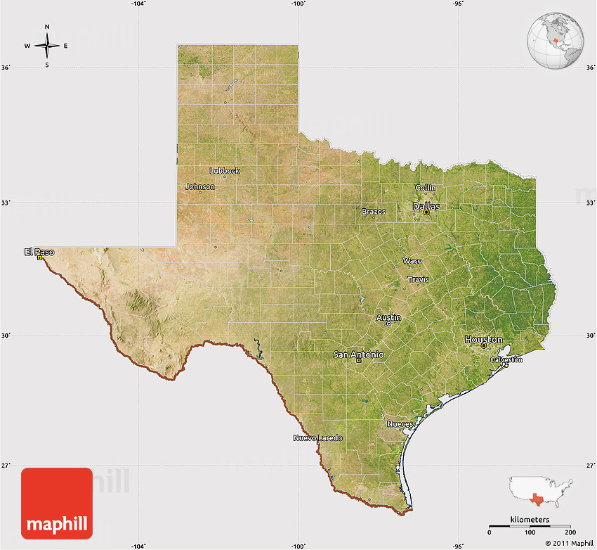 Satellite Map Of Texas Cropped Outside - Satellite map of texas