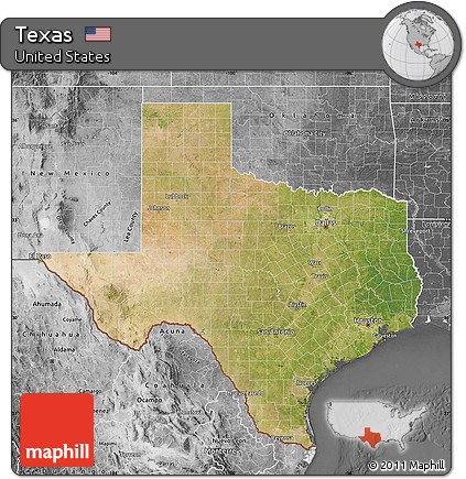 Free Satellite Map Of Texas Desaturated - Satellite map of texas