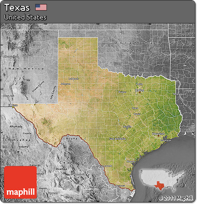 Free Satellite Map Of Texas Desaturated