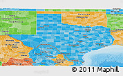 Political Shades Panoramic Map of Texas