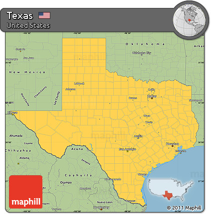 Free Savanna Style Simple Map Of Texas