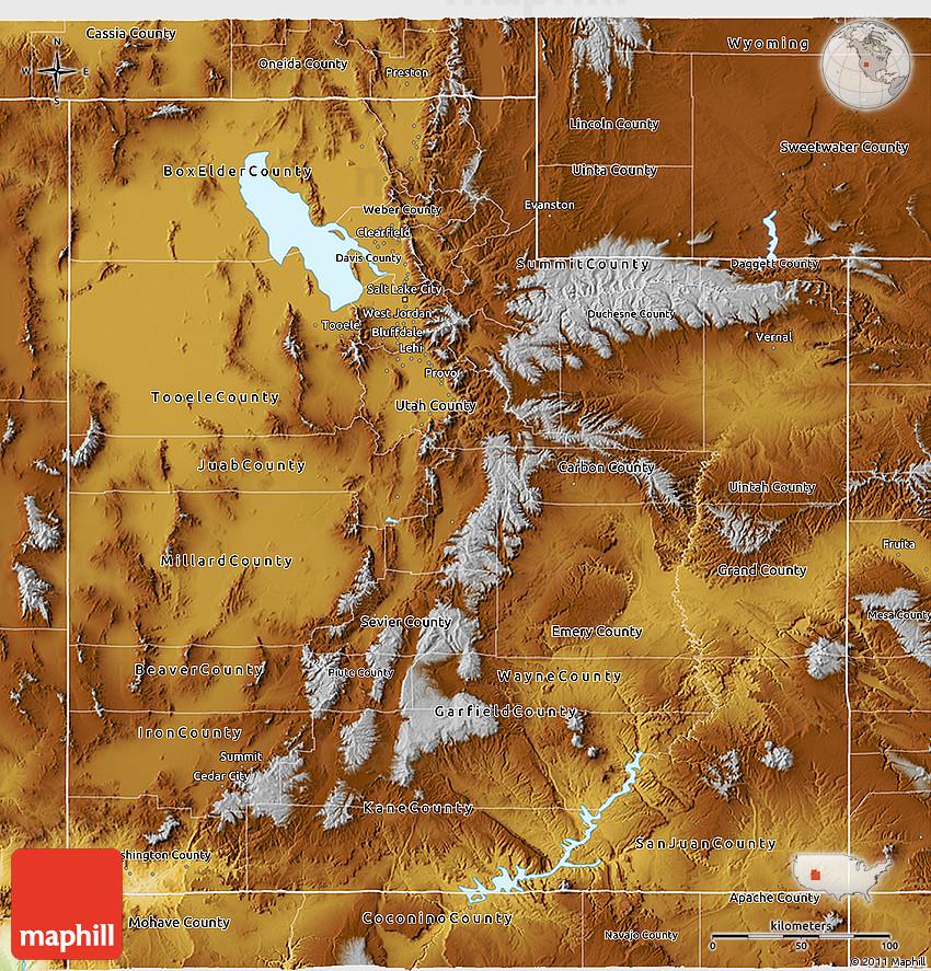 Physical 3D Map of Utah