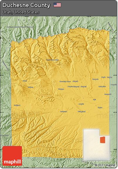 Free Savanna Style Map of Duchesne County on