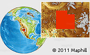 Physical Location Map of Utah