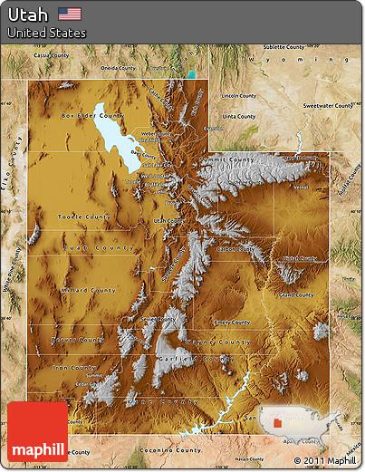 Satellite Outside Physical Map Of Utah Satellite Outside