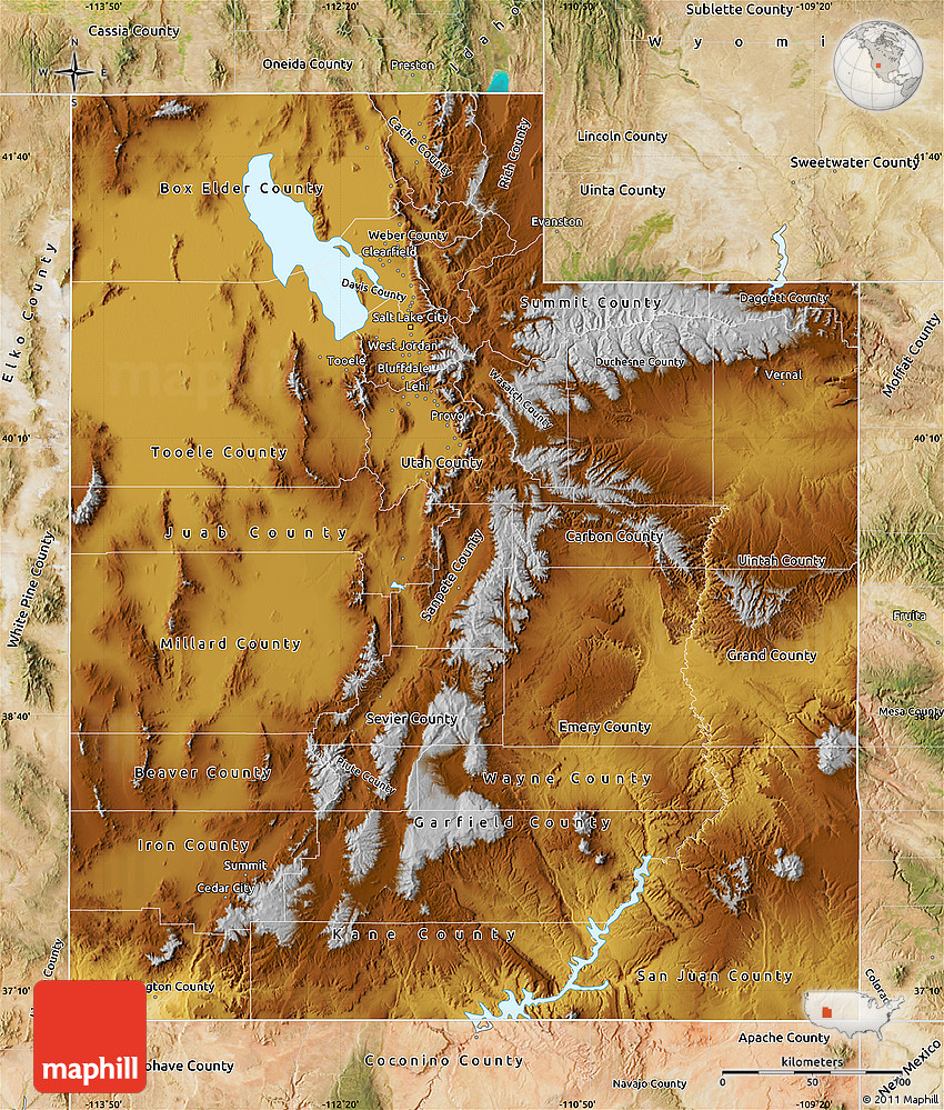Free Physical Map of Utah, satellite outside