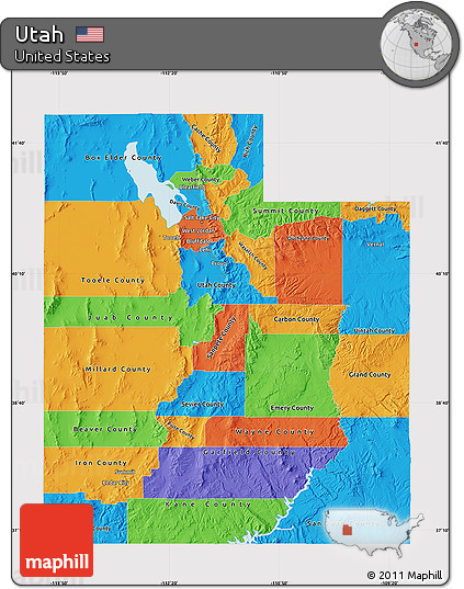 Free Political Map Of Utah Cropped Outside