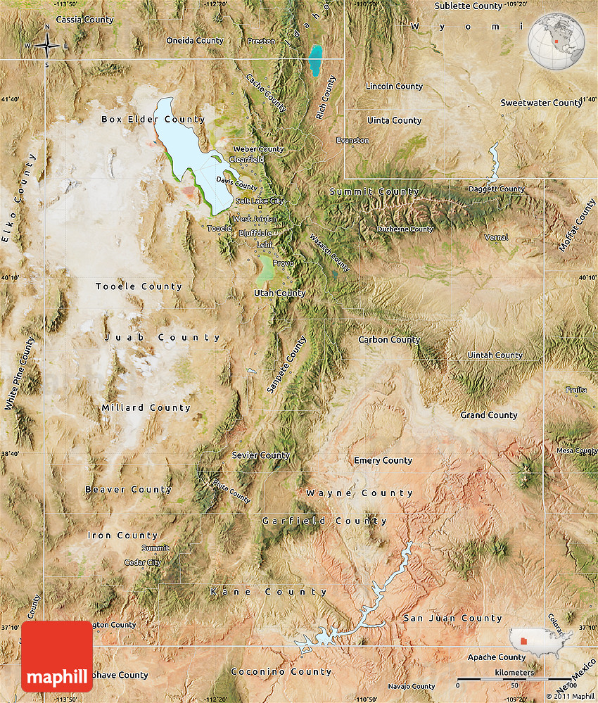 Satellite Map of Utah