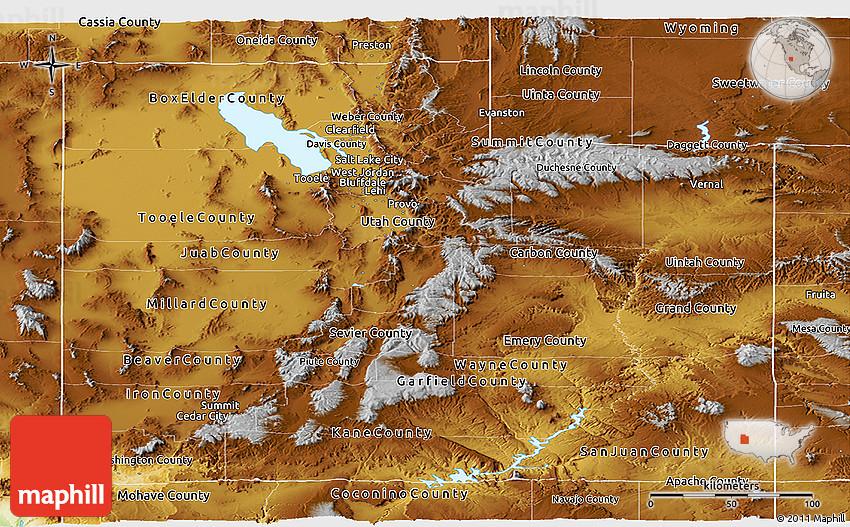 Physical Panoramic Map Of Utah