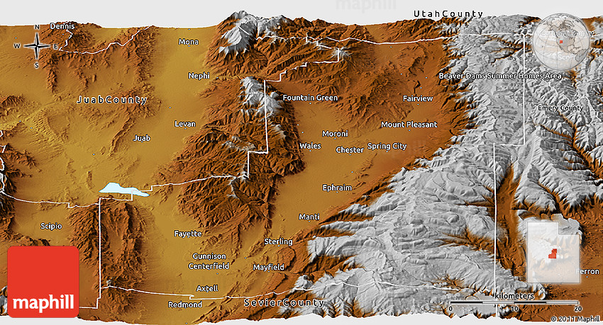Sanpete County Utah Map.Physical Panoramic Map Of Sanpete County