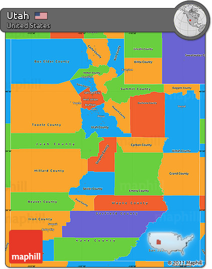 Free Political Simple Map Of Utah