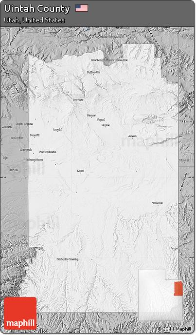Uintah (UT) United States  city photo : Uintah County Utah Map Gray Map of Uintah County