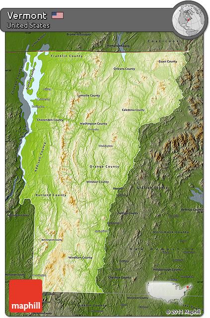 Darken Physical Map Of Vermont Darken