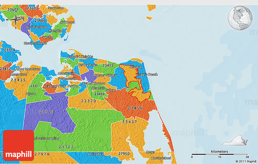 Virginia Beach Zip Code Map Political 3D Map of ZIP Code 23454