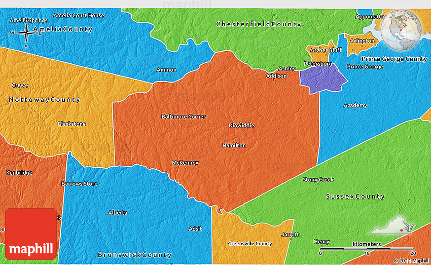 Political 3D Map of Dinwid County on