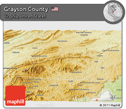 Free Physical 3d Map Of Grayson County - Free-3d-us-map