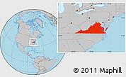 Gray Location Map of Virginia