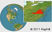 Satellite Location Map of Virginia