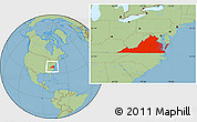 Savanna Style Location Map of Virginia