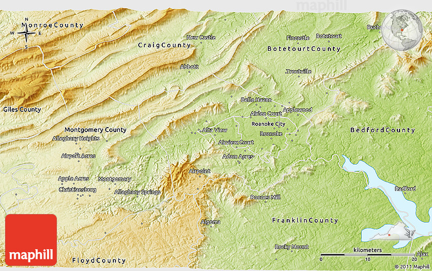 Roanoke VA United States Pictures CitiesTipscom - Physical map of virginia