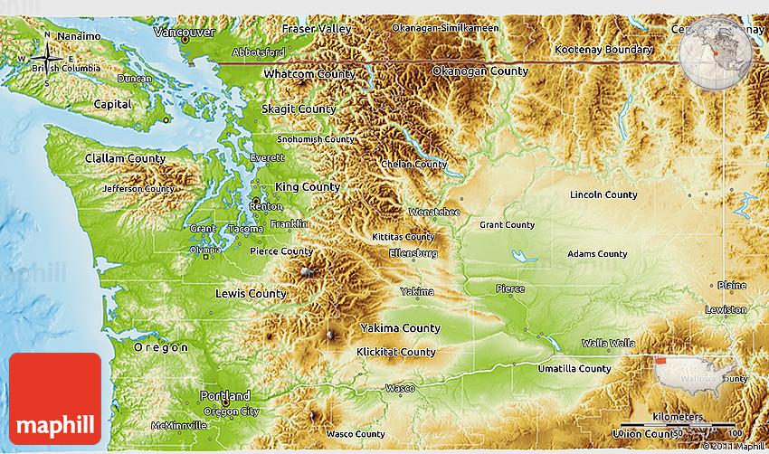 Physical 3D Map Of Washington