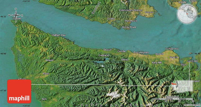 Satellite Map of Clallam County on