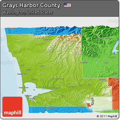 Free Physical 3D Map of Grays Harbor County, political outside