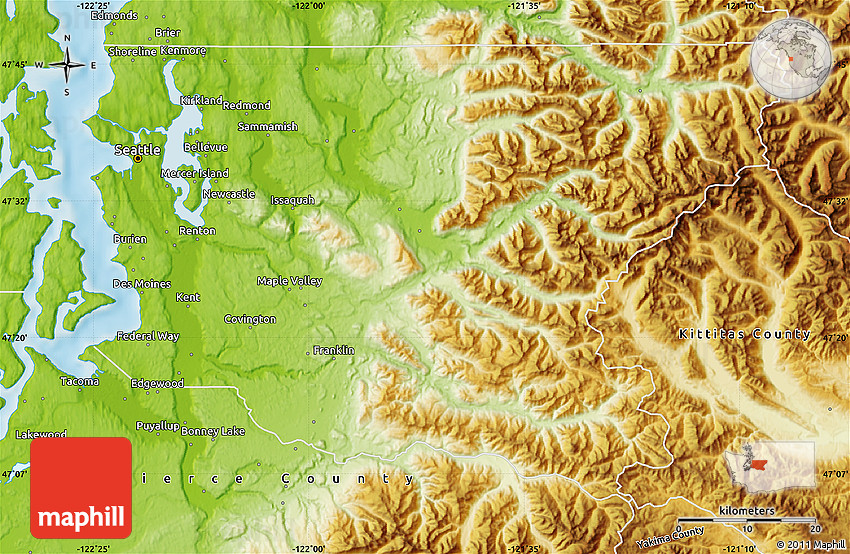 Physical Map Of King County