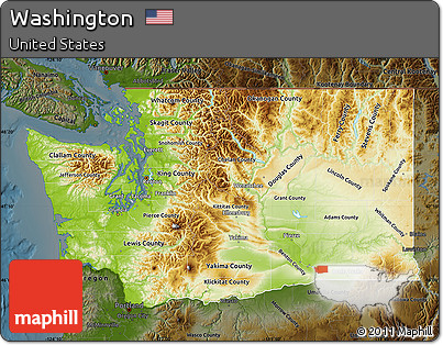 Free Physical Map of Washington darken