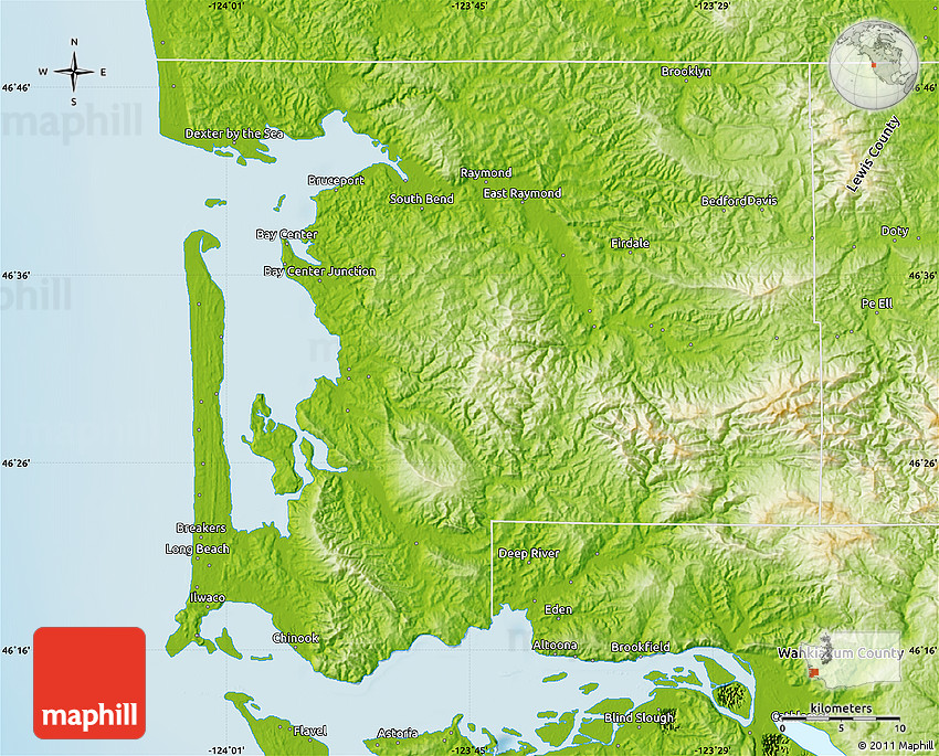 Physical Map Of Pacific County