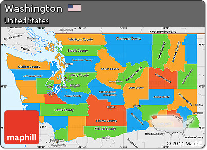 Free Political Simple Map Of Washington Single Color Outside - Washington political map