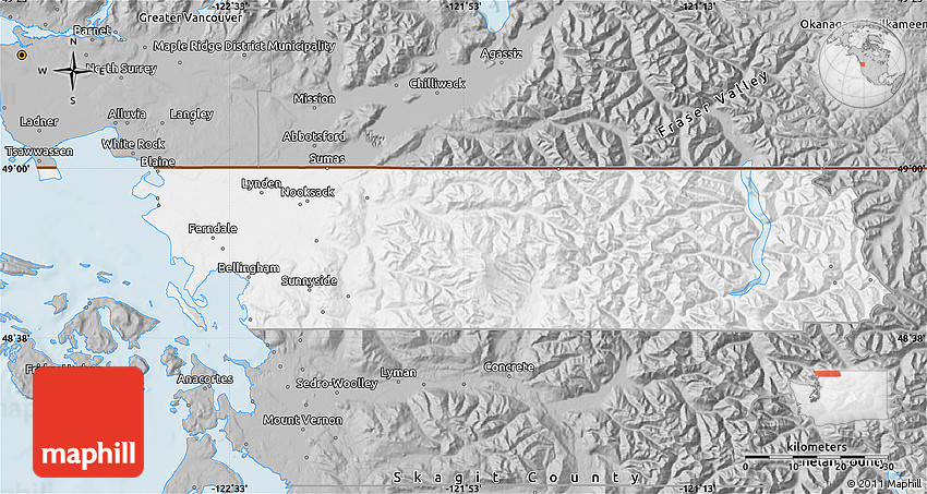 Gray Map of Whatcom County Map Of Whatcom County on