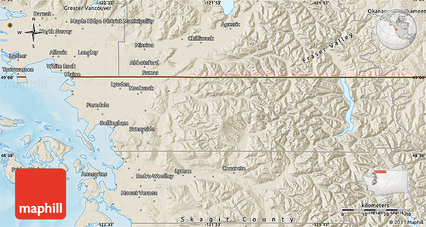 Shaded Relief Map of Whatcom County on