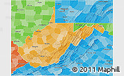 Political Shades 3D Map of West Virginia