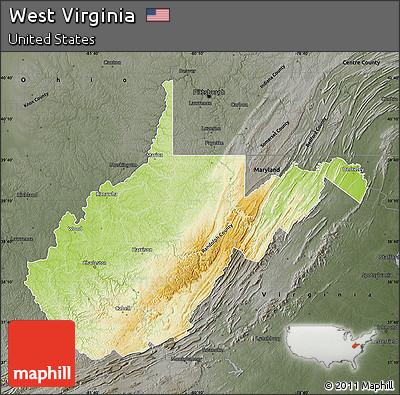 Free Physical Map Of West Virginia Darken Semidesaturated - Physical map of virginia