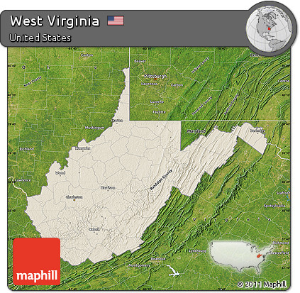 Relief Map Of Virginia.Free Shaded Relief Map Of West Virginia Satellite Outside
