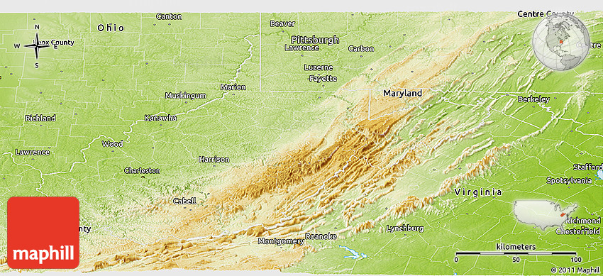 Pics Photos  West Virginia Physical Map