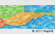 Political Shades Panoramic Map of West Virginia