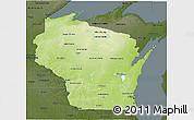 Physical 3D Map Of Wisconsin Darken