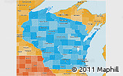 Political Shades 3D Map of Wisconsin