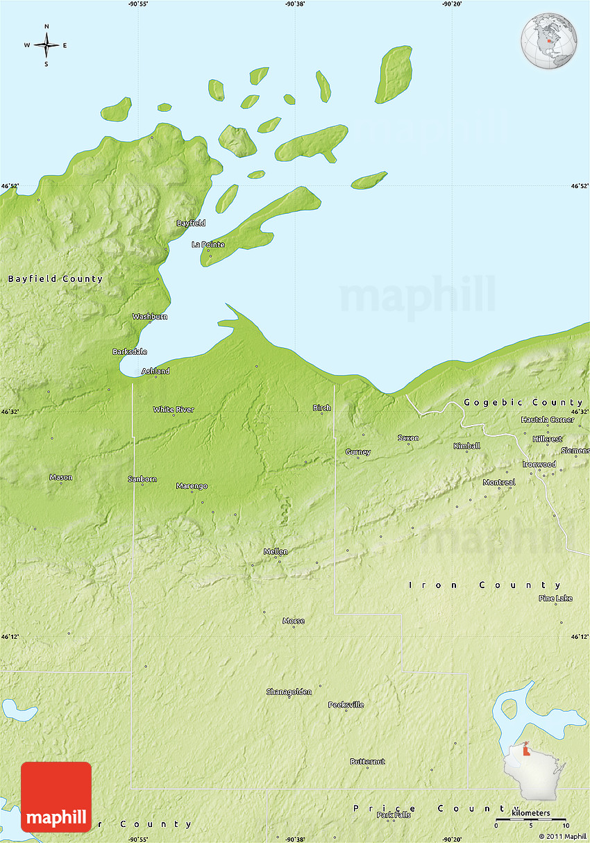 Physical Map Of Ashland County - Physical map of the united states bays