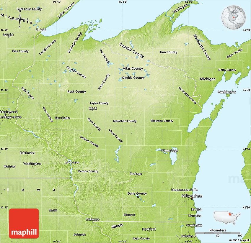 Physical Map Of Wisconsin