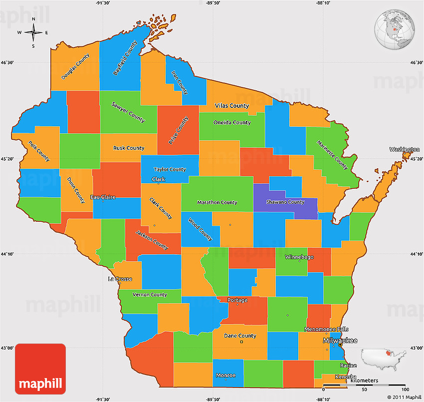 Political Simple Map of Wisconsin, cropped outside